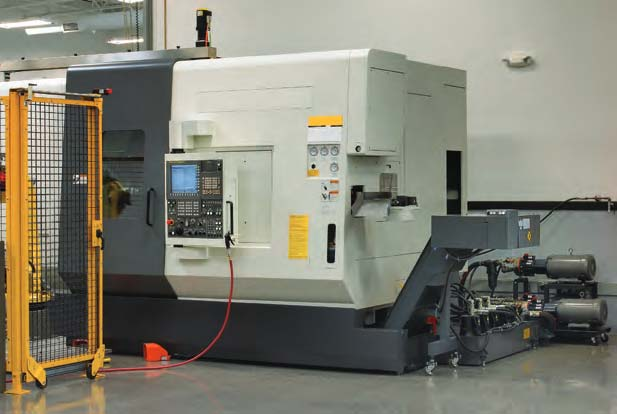 CNC Machining Center with pair of Hydra-Cell high pressure coolant pumps